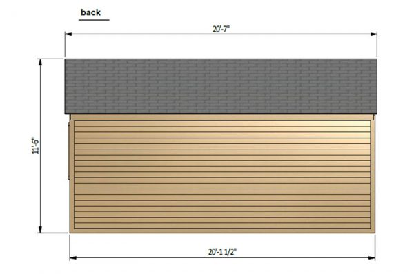 12x20 gable garage shed back side preview