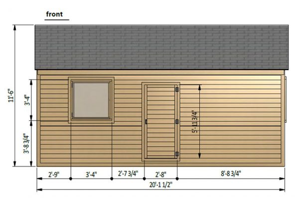 12x20 gable garage shed front side preview