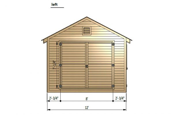 12x20 gable garage shed left side preview