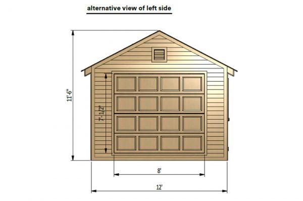 12x20 gable garage shed left side preview with lift doors