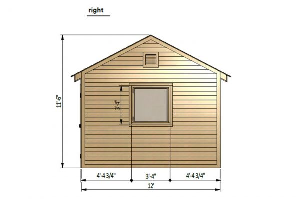 12x20 gable garage shed right side preview