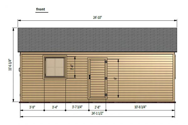12x24 gable garage shed front side preview