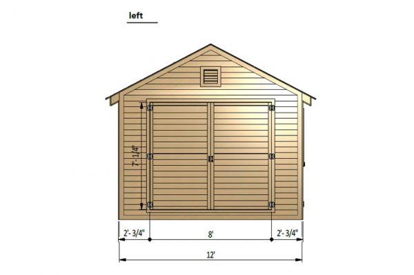 12x24 gable garage shed left side preview