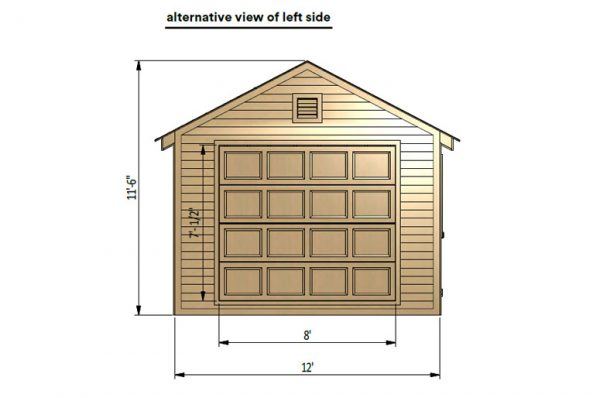 12x24 gable garage shed left side preview with lift doors