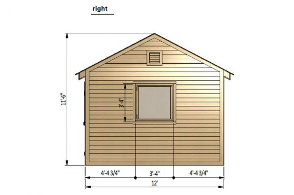 12x24 gable garage shed right side preview