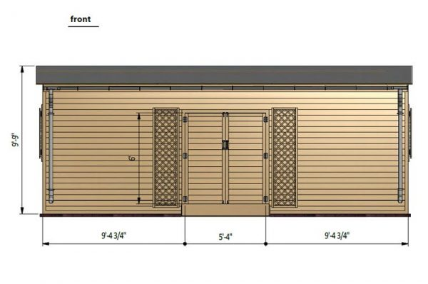 12x24 lean to garden shed front side preview