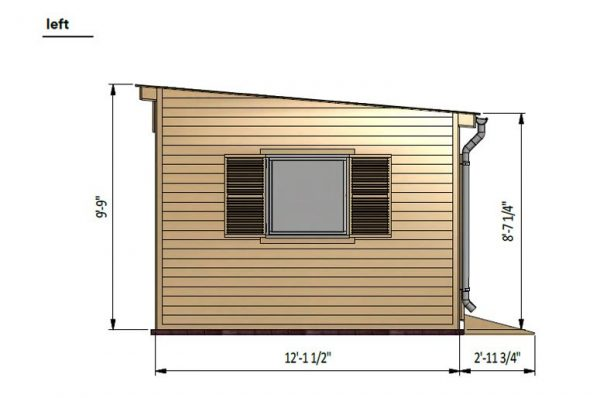 12x24 lean to garden shed left side preview