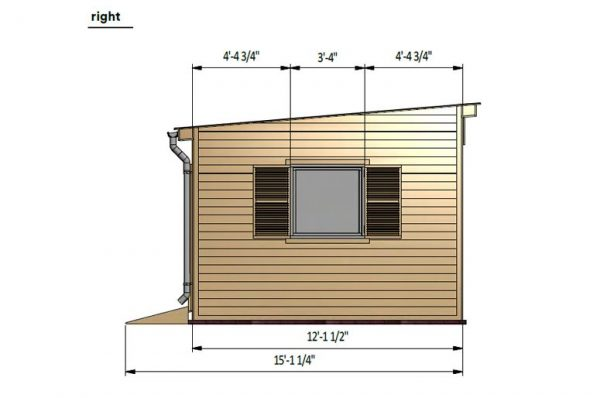 12x24 lean to garden shed right side preview