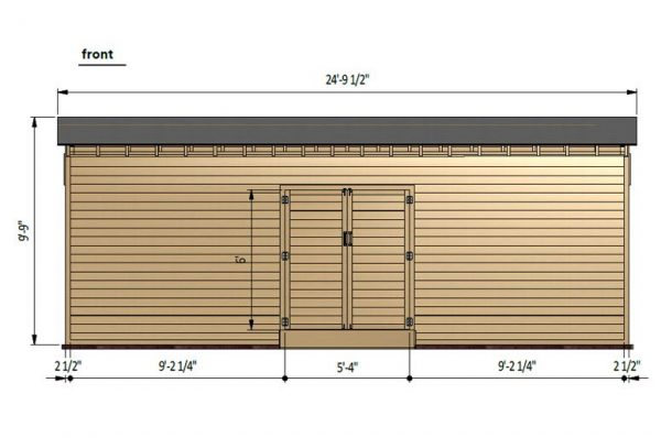 12x24 lean to storage shed front side preview