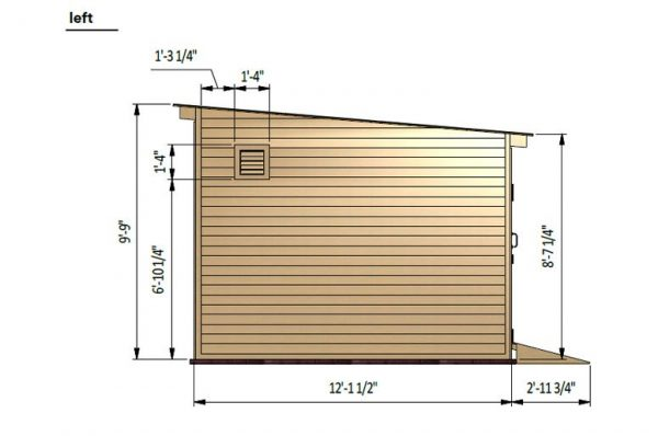 12x24 lean to storage shed left side preview