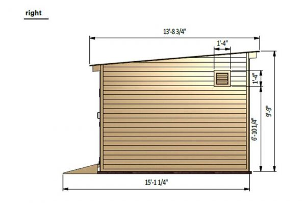 12x24 lean to storage shed right side preview