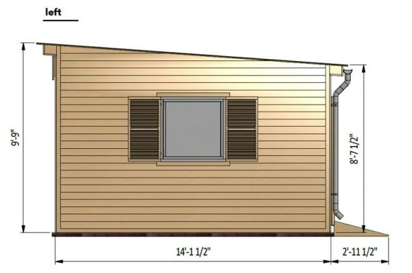 14x16 lean to garden shed left side preview