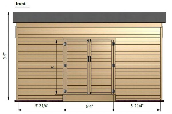 14x16 lean to storage shed front side preview