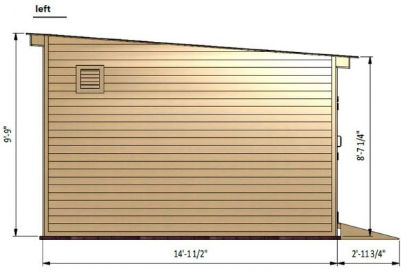 14x16 lean to storage shed left side preview