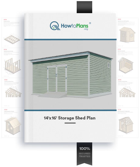 14x16 lean to storage shed plan product