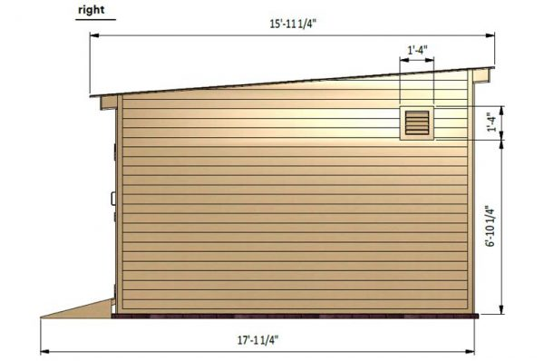 14x16 lean to storage shed right side preview
