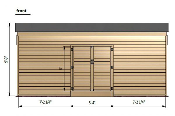 14x20 lean to storage shed front side preview