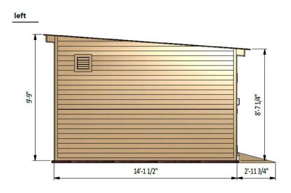 14x20 lean to storage shed left side preview