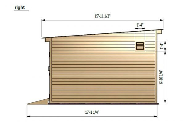 14x20 lean to storage shed right side preview