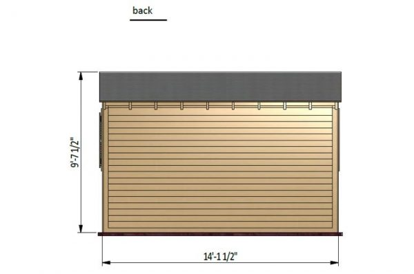 14x8 gable garden shed back side preview