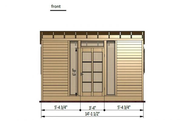14x8 gable garden shed front side preview