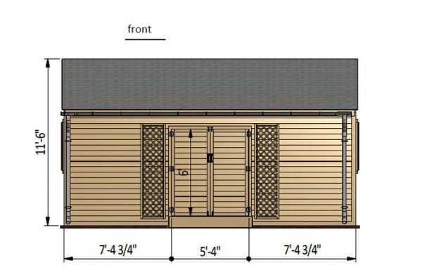16x20 gable garden shed front side preview
