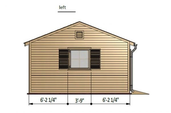 16x20 gable garden shed left side preview