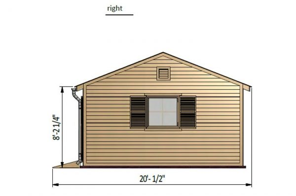 16x20 gable garden shed right side preview