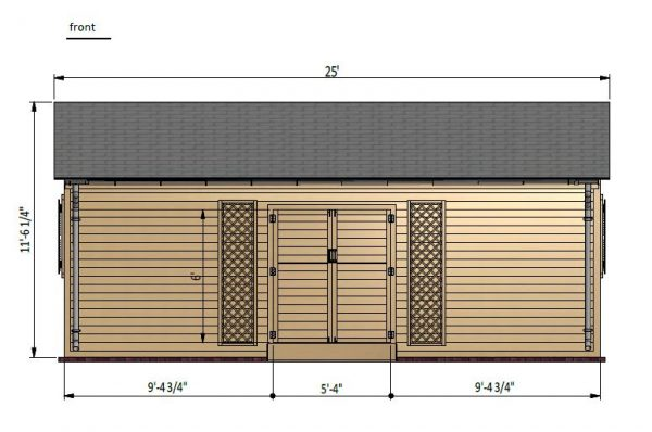 16x24 gable garden shed front side preview