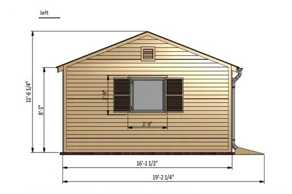 16x24 gable garden shed left side preview