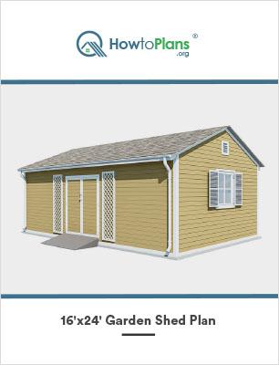 16x24 gable garden shed plan