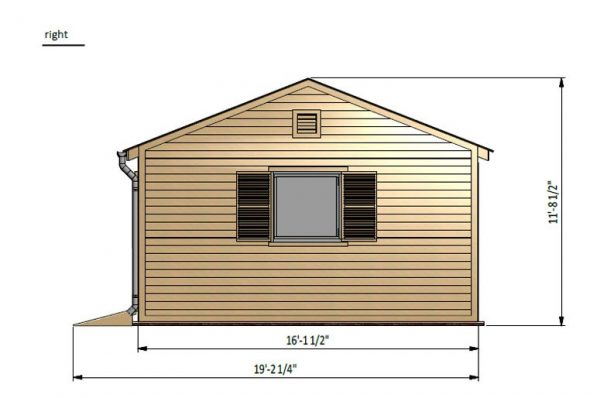 16x24 gable garden shed right side preview