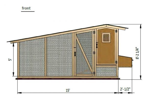 17x6 walk in chicken coop front side preview