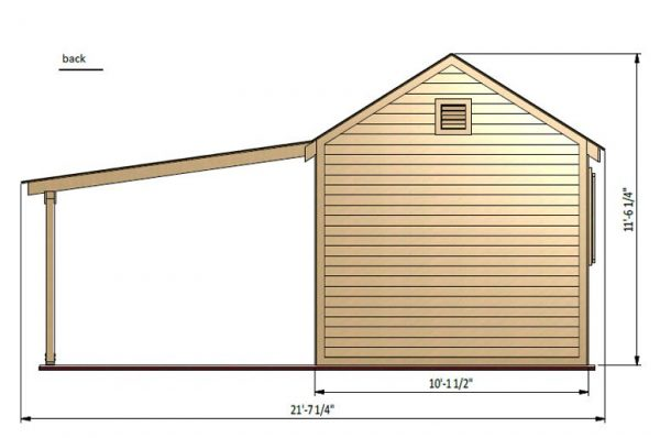 20x10 gable garden shed back side preview