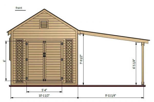 20x10 gable garden shed front side preview