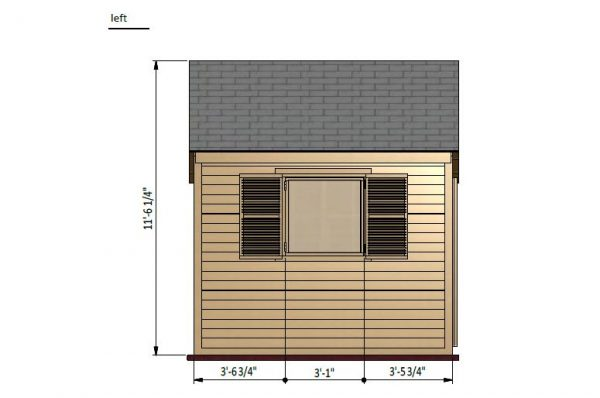 20x10 gable garden shed left side preview