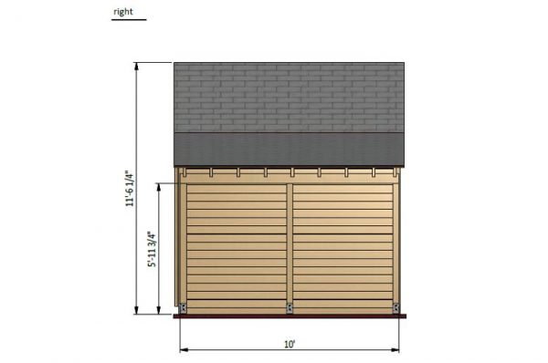 20x10 gable garden shed right side preview