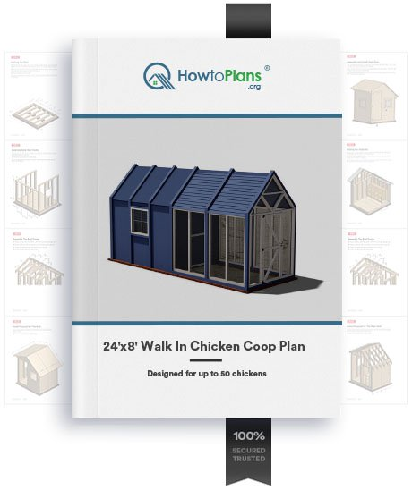 24x8 walk in chicken coop plan product