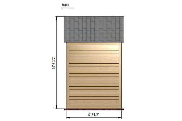 4x6 gable bike shed back side preview