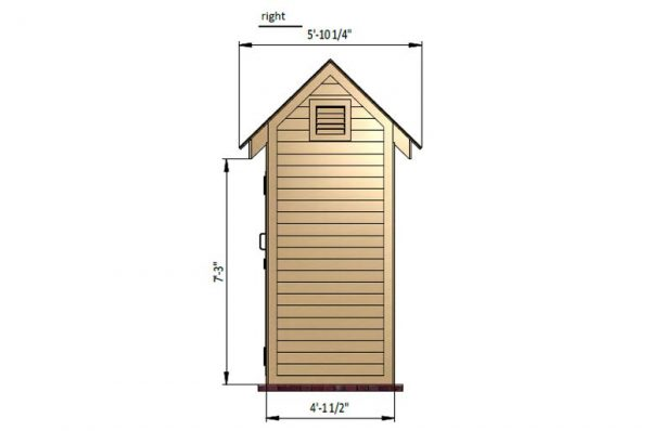 4x6 gable storage shed right side preview