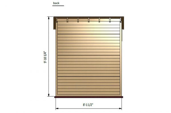 4x8 lean to storage shed back side preview