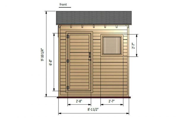 4x8 lean to storage shed front side preview