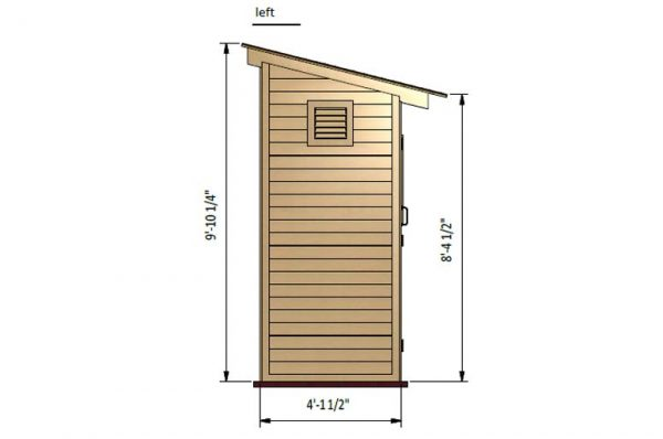 4x8 lean to storage shed left side preview