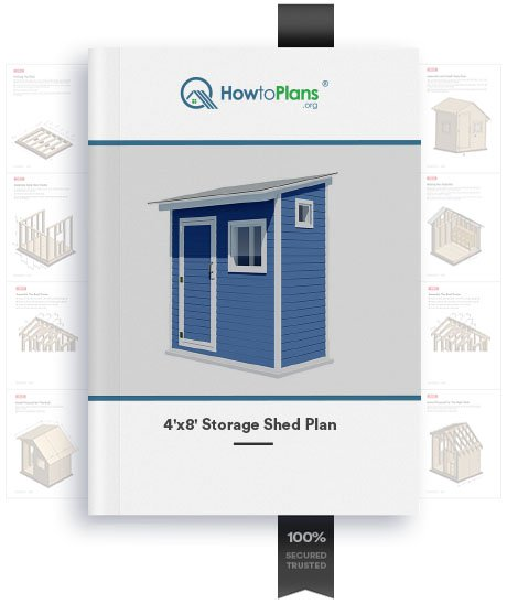 4x8 lean to storage shed plan product