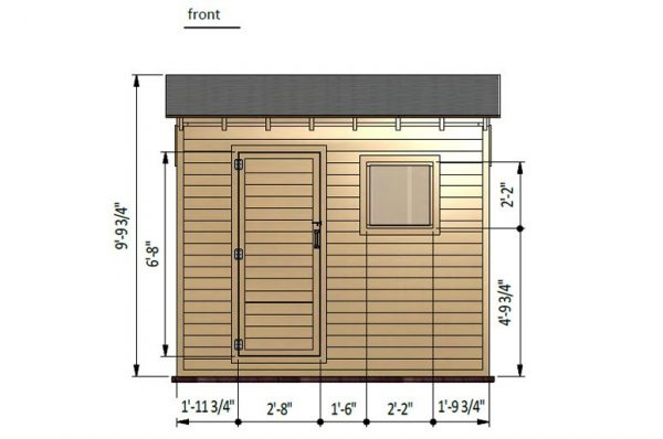 6x10 lean to storage shed front side preview