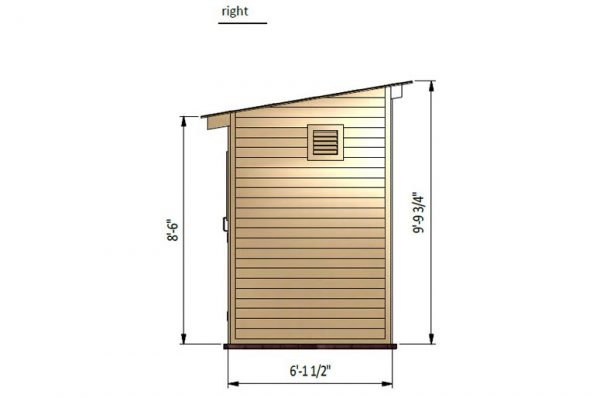 6x10 lean to storage shed right side preview