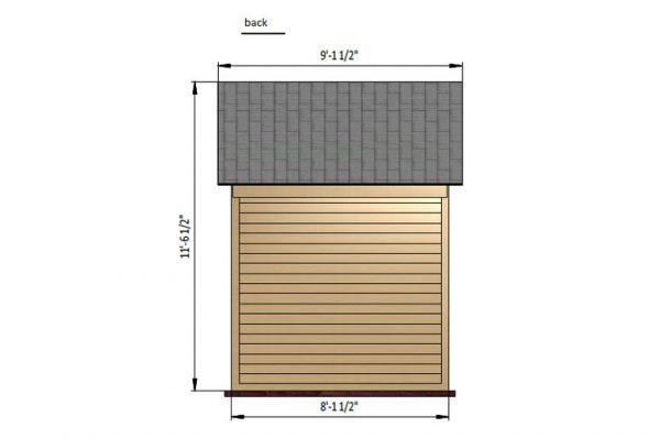 6x8 gable bike shed back side preview