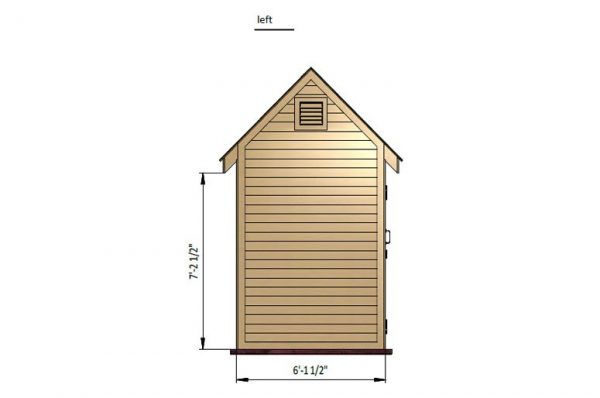6x8 gable bike shed left side preview