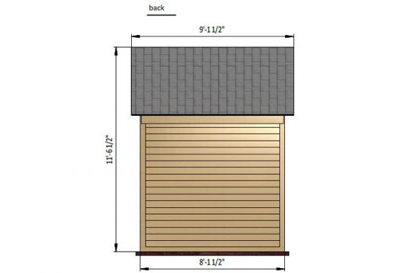 6x8 gable storage shed back side preview