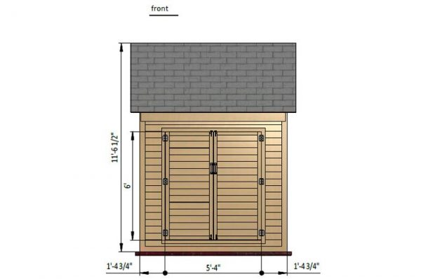 6x8 gable storage shed front side preview